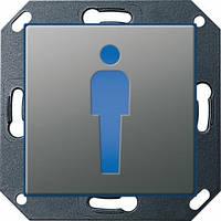 """Светодиодный указатель для ориентации СИД """"Туалет"""", """"М"""", Gira E22 сталь Gira (279220)"""
