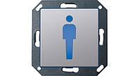 """Светодиодный указатель для ориентации СИД """"Туалет"""", """"М"""", Gira E22 алюминий Gira (2792203)"""