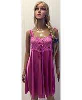 Сексуальная шелковая ночная сорочка с кружевом розового цвета 46-50 р e90909eedf852