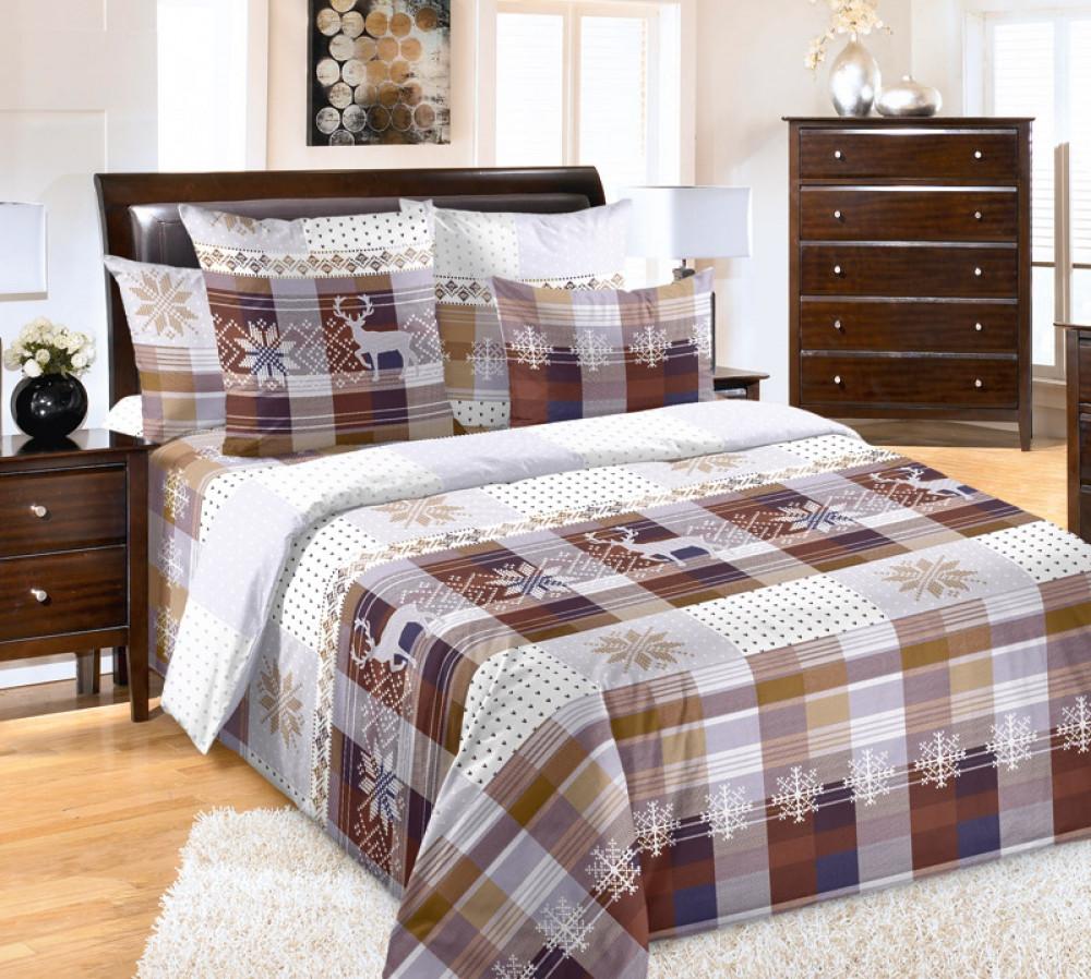 Комплект постельного белья из перкаля Мотыльки Норвегия беж
