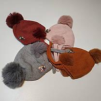 Шапка детская вязанная с бубонами на завязках  весна-осень 0-4 года, фото 2
