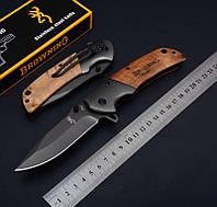 Нож складной Browning, клипса на пояс, накладки рукоятки дерево, подарочная упаковка, складные ножи