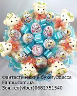 """Счастливые эмоции ребенка-букет из мягких игрушек и киндер яиц """"Разноцветная история"""" 7+12, фото 1"""