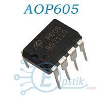 AOP605, транзисторная сборка P+N chanel, 30V 6.6A / 7.5A, DIP8
