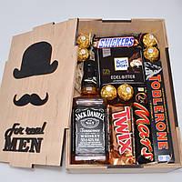 Оригинальный подарок мужчине. Подарочный набор. Для парня, мужа, папы, шефа. В деревянной коробке.