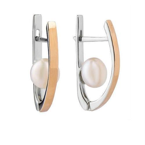 Срібні сережки з золотими вставками