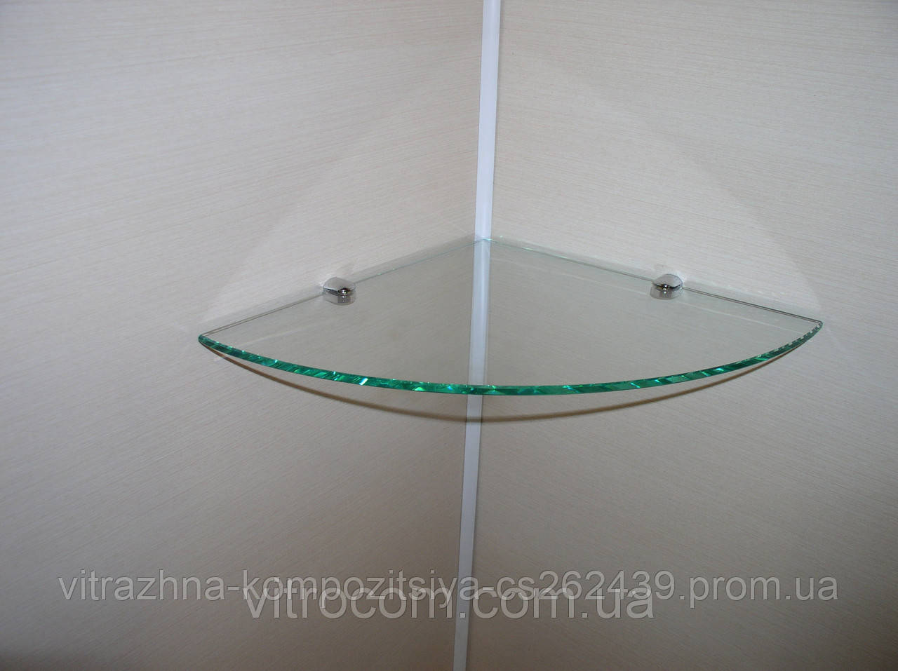 Полка стеклянная угловая 4 мм прозрачная 20 х 20 см