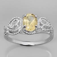 Серебряное кольцо 925 пробы с натуральным цитрином. Размер 19