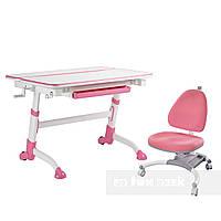 Комплект растущая парта Volare Pink + детское ортопедическое кресло SST4 Pink FunDesk, фото 1