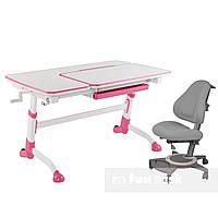 Комплект подростковая парта для школы Amare Pink + ортопедическое кресло Bravo Grey FunDesk , фото 1