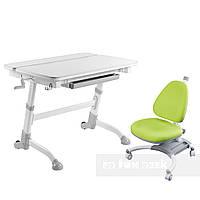 Комплект растущая парта Volare Grey + детское ортопедическое кресло SST4 Green FunDesk, фото 1