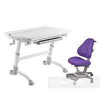 Комплект растущая парта Volare Grey + детское ортопедическое кресло Bravo Purple FunDesk, фото 1