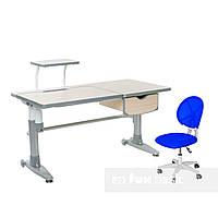 Комплект парта Ballare Grey с выдвижным ящиком + детское кресло для школьника LST1 Blue FunDesk , фото 1