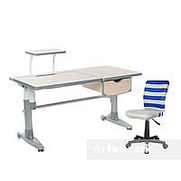 Комплект подростковая парта для школы Ballare Grey + детское кресло для школьника LST9 Blue FunDesk , фото 1