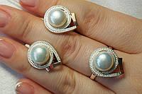 Набор серебряных украшений с жемчугом и золотом