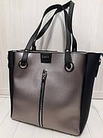 Сумка в стиле Zara цвет чёрно-серебряная экокожа