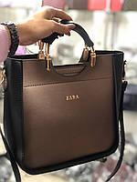 Сумка в стиле Zara цвет чёрно-бронзовая экокожа