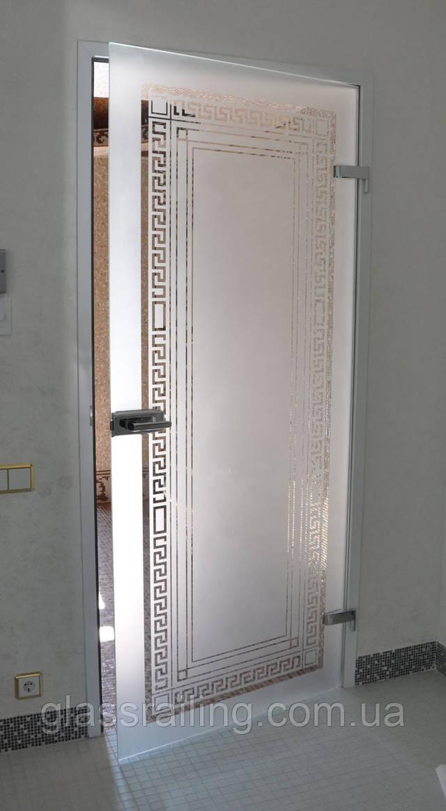 Стеклянная дверь с пескоструйным рисунком