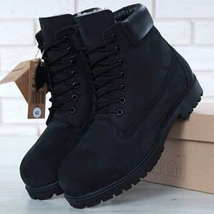 Мужские (женские) зимние ботинки Timberland 6 inch Black с натуральным мехом