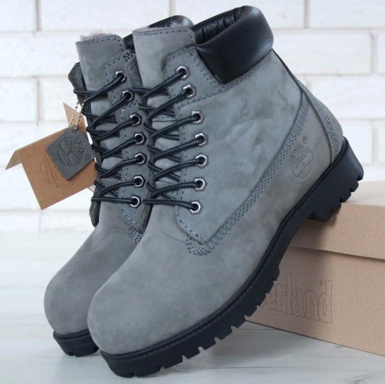Мужские (женские) зимние ботинки Timberland 6 inch Grey/Black с натуральным мехом