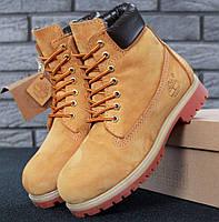 9739d4bfc Мужские (женские) зимние ботинки в стиле Timberland 6 inch Yellow с натуральным  мехом