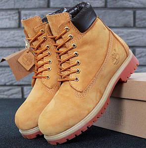Мужские (женские) зимние ботинки Timberland 6 inch Yellow с натуральным мехом