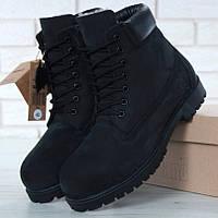 9085ac785 Мужские (женские) зимние ботинки в стиле Timberland 6 inch Black С МЕХОМ