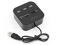 Мульти картрідер з 3 портами All-in-One USB-HUB Combo  Чорний