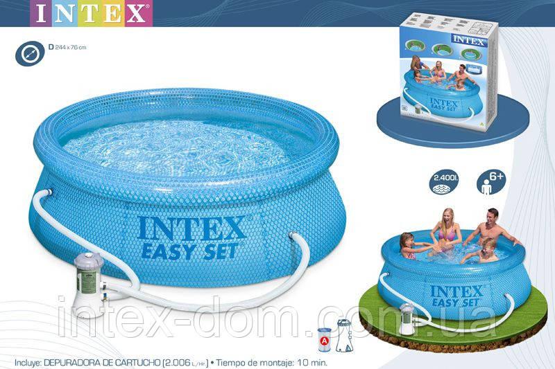 Надувной бассейн Intex 54912 Clearview Easy Set Pool (244 х 76 см) + фильтрующий насос киев