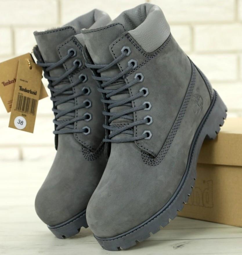Мужские (женские) зимние ботинки Timberland 6 inch Grey с натуральным мехом