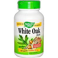 Кора белого дуба White Oak bark 480 мг 100 капс лечение язвы желудка гастрита диареи Nature's Way USA