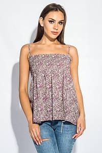 Блуза женская с нежным цветочным принтом 266F011-7 (Бежево-сиреневый)