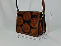 Маленькая женская сумочка ручной работы из натуральной кожи с цветочным тисненым рисунком