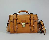 Женская  сумка - саквояж  ручной работы из натуральной кожи растительного дубления