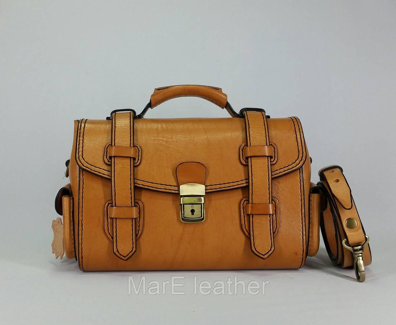 bd627e397a67 Женская сумка - саквояж ручной работы из натуральной кожи растительного  дубления - MarE leather в Белой