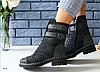 Ботинки женские зимние замшевые с кожаными вставками черные с напылением