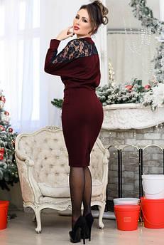 Платье с кружевными вставками Альберта, бордовое