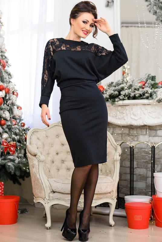 Черное платье с кружевом Альберта