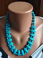 Модное ожерелье из натурального камня,бирюза.