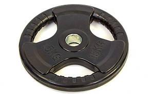Блины (диски) обрезиненные с тройным хватом и металлической втулкой d-52мм TA-8122-15 15кг (чер)