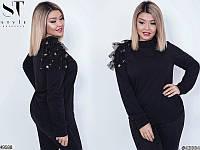 Красивый черный свитер нарядный женский трехнить больших размеров 48-58
