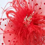 Уникальная женская красная шляпка с вуалью и брошкой А-1111, фото 2