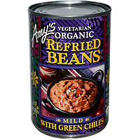Amy's, Вегетарианские органические тушеные бобы с зеленым перцем чили, мягкие, 15,4 унции (437 г)