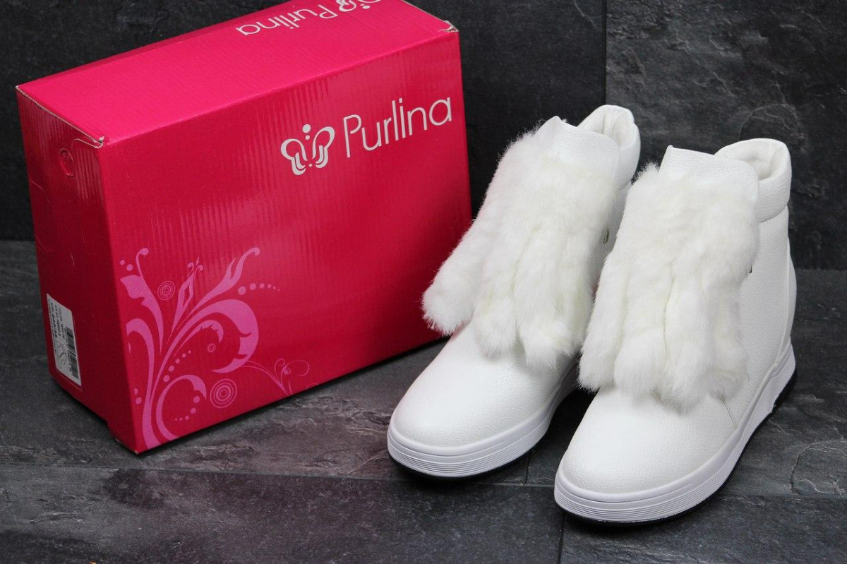 Женские зимние ботинки Purlina с декором белые 3579 - Интернет-магазин  Avos ka в 2084b325edcf5
