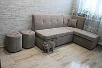 Кухонный уголок со спальным местом и нишей в ткани антикоготь (Серый), фото 1