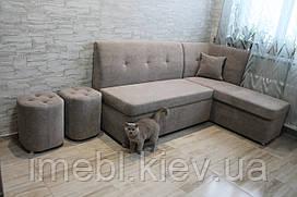 Кухонный уголок со спальным местом и нишей в ткани антикоготь (Серый)