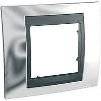Рамка одноместная Schneider electric Unica TOP Metall(металическая) блестящий хром/графит