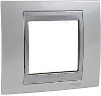 Шнайдер электрик Уника ТОП(Shneider electric Unica TOP Metall) рамка однопостовая белоснежный/алюминий