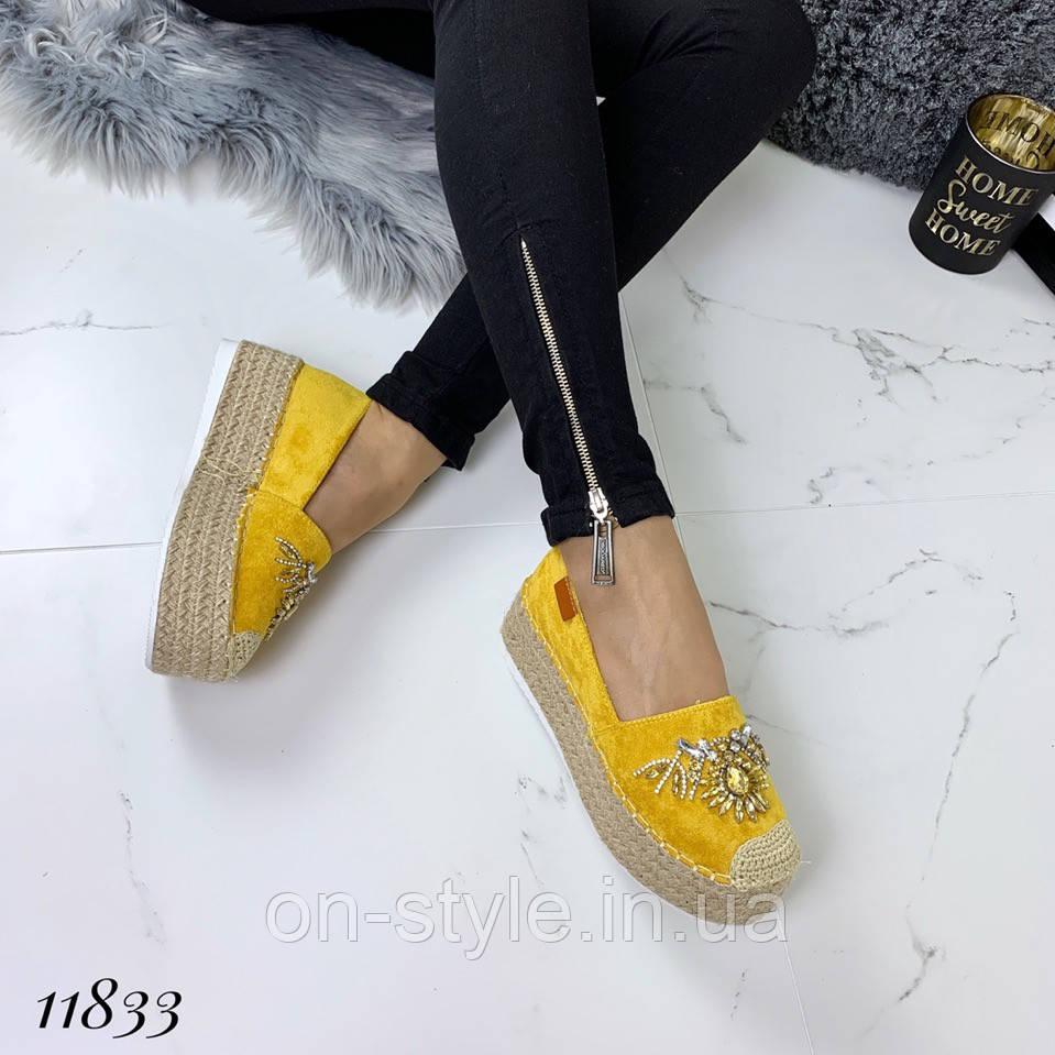 67836819 Женские замшевые желтые эспадрильи с декором на плетеной подошве, фото 1