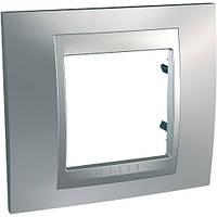 Рамка одноместная Schneider electric Unica TOP Metall(металическая) Хром матовый/алюминий